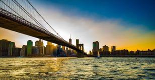 Zonsondergang op de Brug van Brooklyn Stock Foto