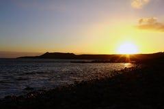 Zonsondergang op de Canarische Eilanden Stock Foto's