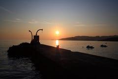 Zonsondergang op de dijk Royalty-vrije Stock Fotografie