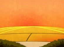 Zonsondergang op de gebieden stock illustratie