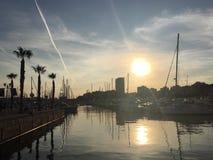 Zonsondergang op de haven royalty-vrije stock fotografie