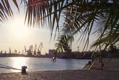 Zonsondergang op de haven Stock Foto