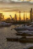 Zonsondergang op de Heilige Lawrence Seaway Royalty-vrije Stock Afbeeldingen