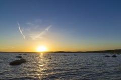 Zonsondergang op de Hogere Iset-vijver Stock Fotografie