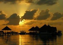 Zonsondergang op de Maldiven Stock Afbeeldingen