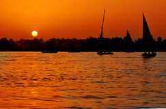 Zonsondergang op de Nijl Royalty-vrije Stock Afbeeldingen