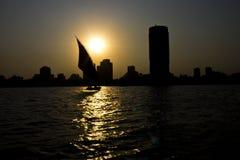 Zonsondergang op de Nijl in Kaïro Stock Foto
