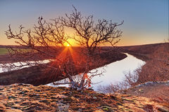 Zonsondergang op de Osage-Rivier Stock Foto