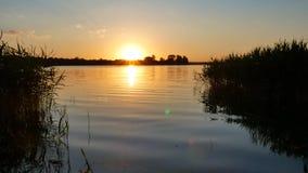 Zonsondergang op de rivier stock video