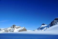 Zonsondergang op de skihellingen bij saasprijs Royalty-vrije Stock Fotografie