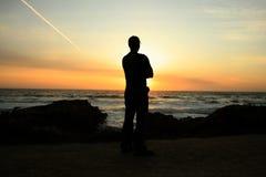 Zonsondergang op de Stille Oceaan Stock Fotografie
