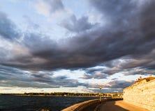 Zonsondergang op de straten van Porec Royalty-vrije Stock Afbeeldingen