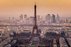 Zonsondergang op de toren van Eiffel Royalty-vrije Stock Fotografie