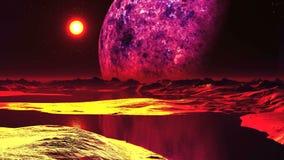 Zonsondergang op de vreemde planeet royalty-vrije illustratie