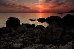 Zonsondergang op de Zwarte Zee Royalty-vrije Stock Foto's