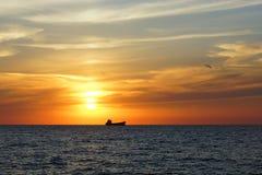 Zonsondergang op de Zwarte Zee Royalty-vrije Stock Foto
