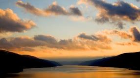 Zonsondergang op Donau Royalty-vrije Stock Afbeeldingen