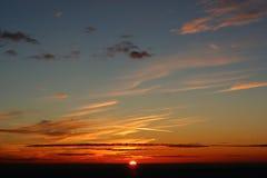 Zonsondergang op een berg Royalty-vrije Stock Foto