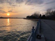 Zonsondergang op een lakeshore met een gang royalty-vrije stock afbeeldingen