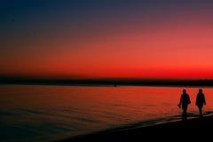 Zonsondergang op een overzees Stock Foto's