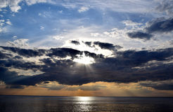 Zonsondergang op een overzees Royalty-vrije Stock Foto