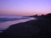 Zonsondergang op een strand van Californië Stock Foto