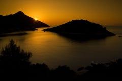 Zonsondergang op eiland Lastovo Stock Foto's