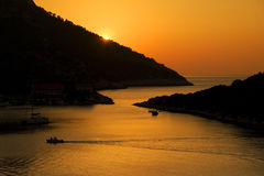 Zonsondergang op eiland Lastovo Stock Foto