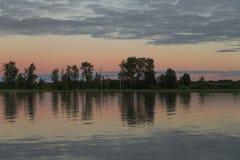 Zonsondergang op Fraser River Stock Foto