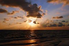 Zonsondergang op Golf van Mexico Stock Fotografie