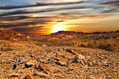 Zonsondergang op het binnenland Royalty-vrije Stock Afbeelding