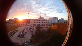 Zonsondergang op het district van Gdansk Zaspa Cityscape in fisheyemening Stock Afbeeldingen