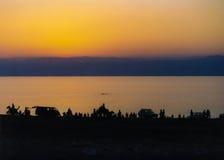 Zonsondergang op het Dode Overzees Stock Afbeeldingen