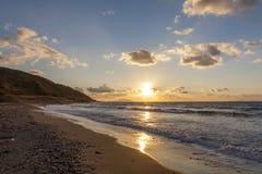 Zonsondergang op het Egeïsche Overzees Royalty-vrije Stock Afbeeldingen