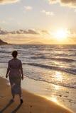 Zonsondergang op het Egeïsche Overzees Stock Foto