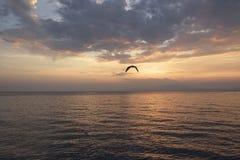 Zonsondergang op het Egeïsche Overzees Stock Fotografie