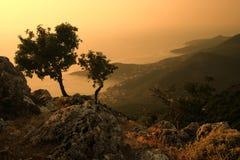 Zonsondergang op het eiland Royalty-vrije Stock Afbeeldingen