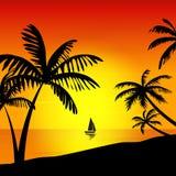 Zonsondergang op het eiland Royalty-vrije Stock Foto