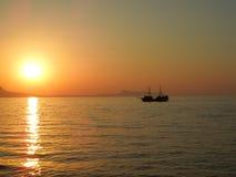 Zonsondergang op het Eiland van Kreta Stock Foto