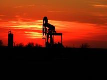 Zonsondergang op het Flard van de Olie Stock Fotografie