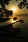 Zonsondergang op het meer Royalty-vrije Stock Foto