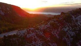 Zonsondergang op het meer van Sainte Croix stock videobeelden