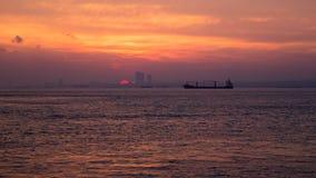 Zonsondergang op het Middellandse-Zeegebied royalty-vrije stock foto's