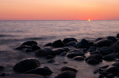 Zonsondergang op het overzees Royalty-vrije Stock Foto