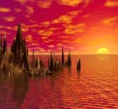 Zonsondergang op het overzees. Stock Afbeelding