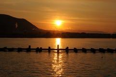 Zonsondergang op het overzees, bergen op de achtergrond Stock Foto's