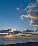 Zonsondergang op het strand met fijn zand-Napels, Florida Royalty-vrije Stock Afbeelding
