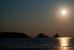 Zonsondergang op het strand van Estartit Stock Afbeeldingen