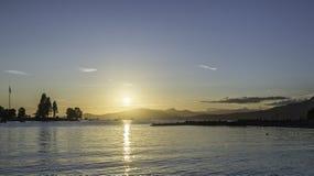Zonsondergang op het Strand van Vancouver Stock Foto