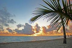 Zonsondergang op het zandige strand Het gelijk maken op de oceaan royalty-vrije stock foto